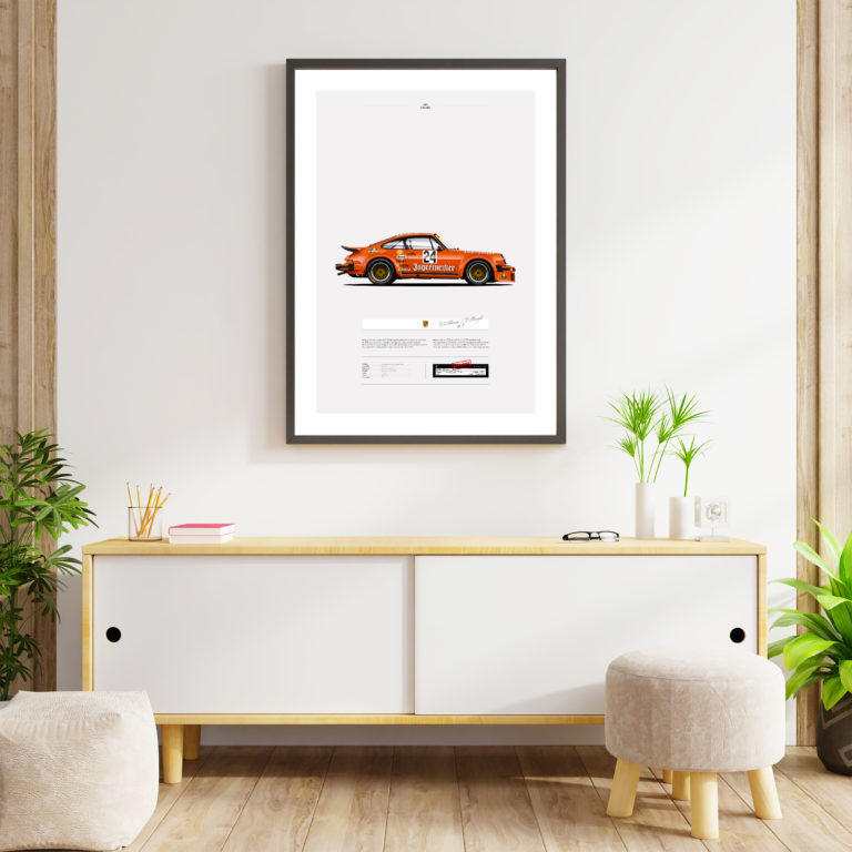 Mock Up Poster Frame On Cabinet In Interior.